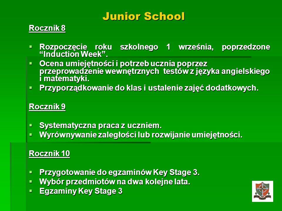 Junior School Rocznik 8. Rozpoczęcie roku szkolnego 1 września, poprzedzone Induction Week .