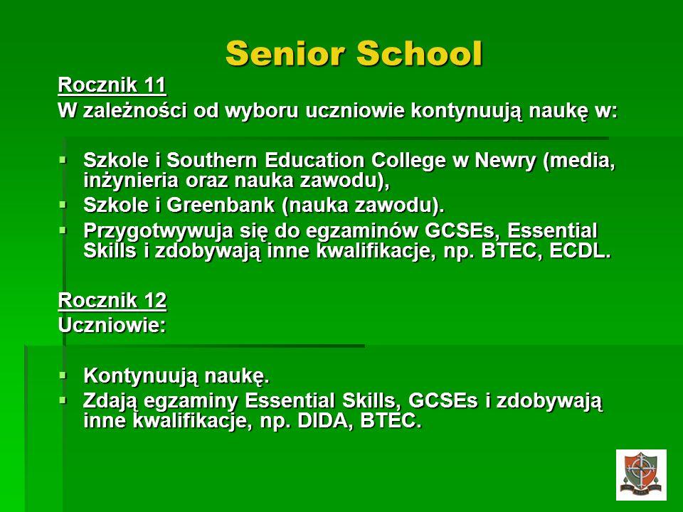 Senior School Rocznik 11. W zależności od wyboru uczniowie kontynuują naukę w: