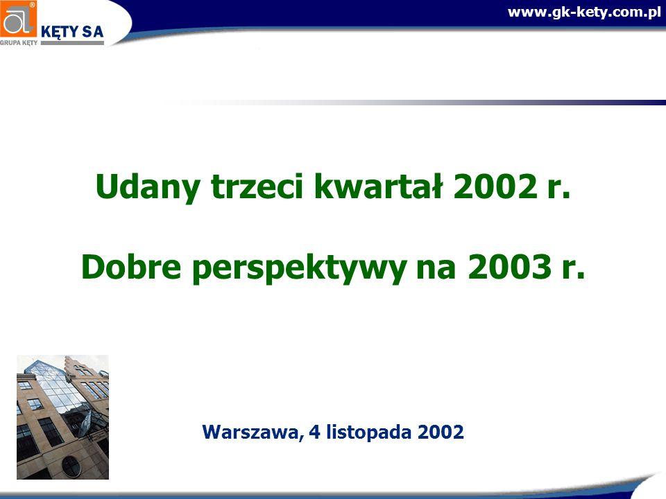 Udany trzeci kwartał 2002 r. Dobre perspektywy na 2003 r