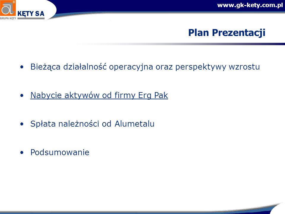 Plan PrezentacjiBieżąca działalność operacyjna oraz perspektywy wzrostu. Nabycie aktywów od firmy Erg Pak.