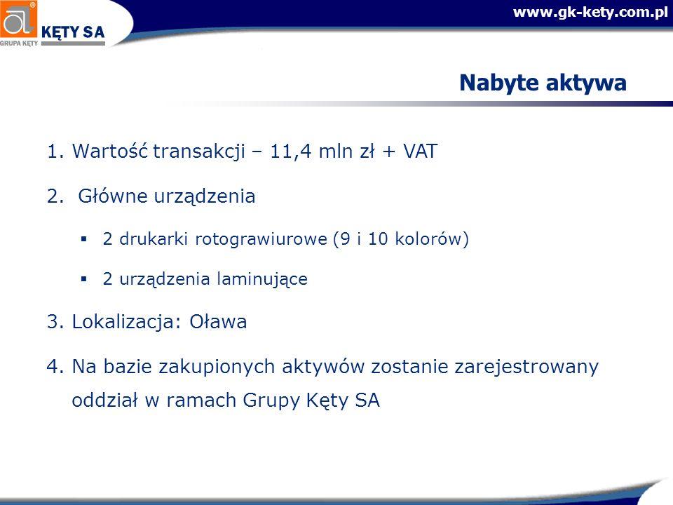 Nabyte aktywa Wartość transakcji – 11,4 mln zł + VAT Główne urządzenia