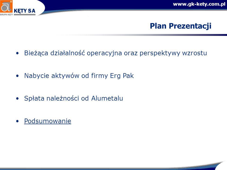 Plan Prezentacji Bieżąca działalność operacyjna oraz perspektywy wzrostu. Nabycie aktywów od firmy Erg Pak.