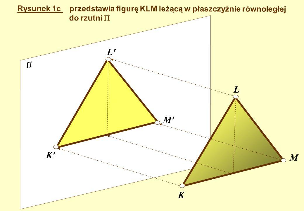 Bogdan Lewandowski* Rysunek 1c przedstawia figurę KLM leżącą w płaszczyźnie równoległej. do rzutni 