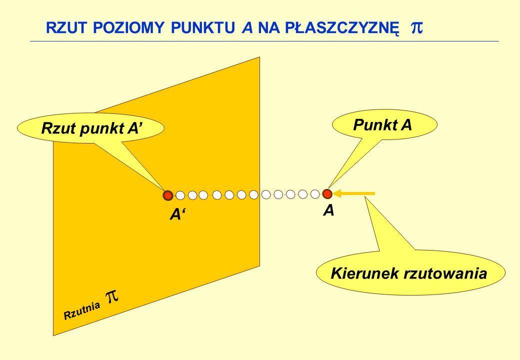  RZUT POZIOMY PUNKTU A NA PŁASZCZYZNĘ  Punkt A Rzut punkt A' A A'
