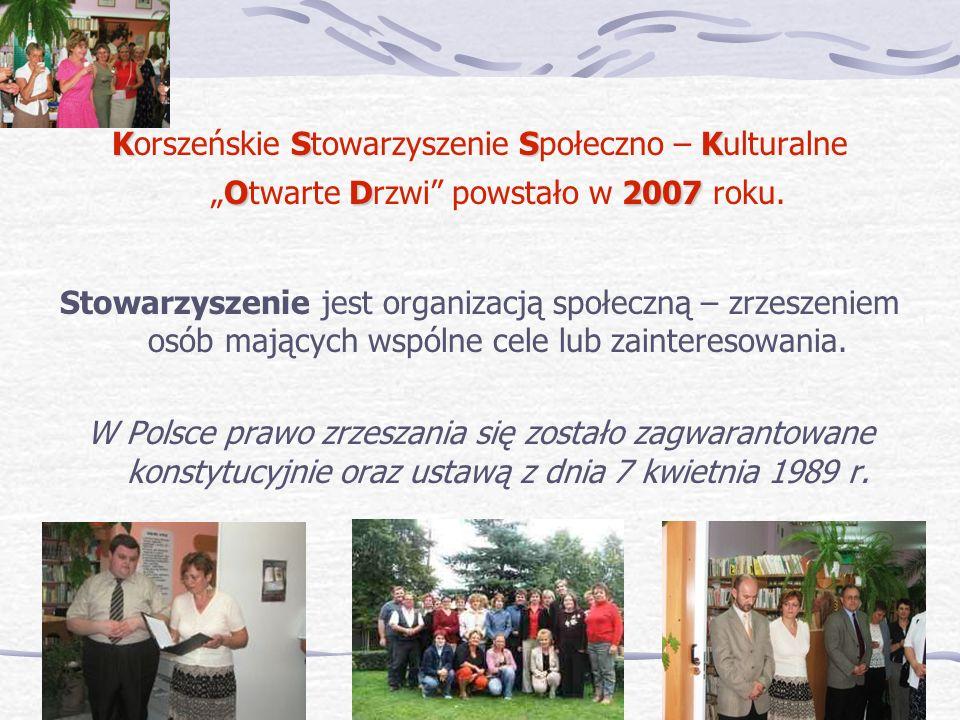 """Korszeńskie Stowarzyszenie Społeczno – Kulturalne """"Otwarte Drzwi powstało w 2007 roku."""