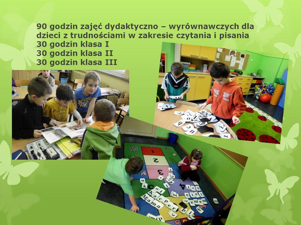 90 godzin zajęć dydaktyczno – wyrównawczych dla dzieci z trudnościami w zakresie czytania i pisania 30 godzin klasa I 30 godzin klasa II 30 godzin klasa III