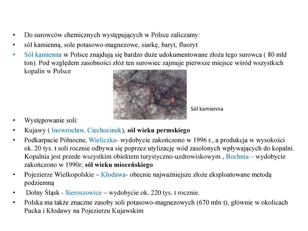 Do surowców chemicznych występujących w Polsce zaliczamy: