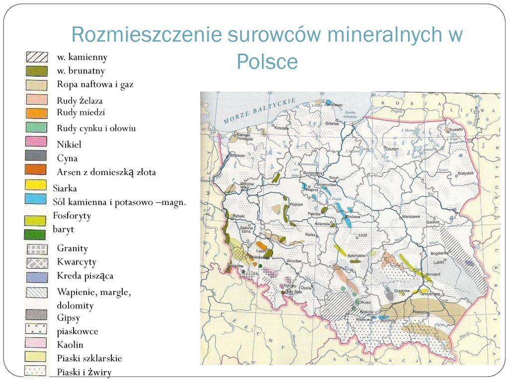 Rozmieszczenie surowców mineralnych w Polsce