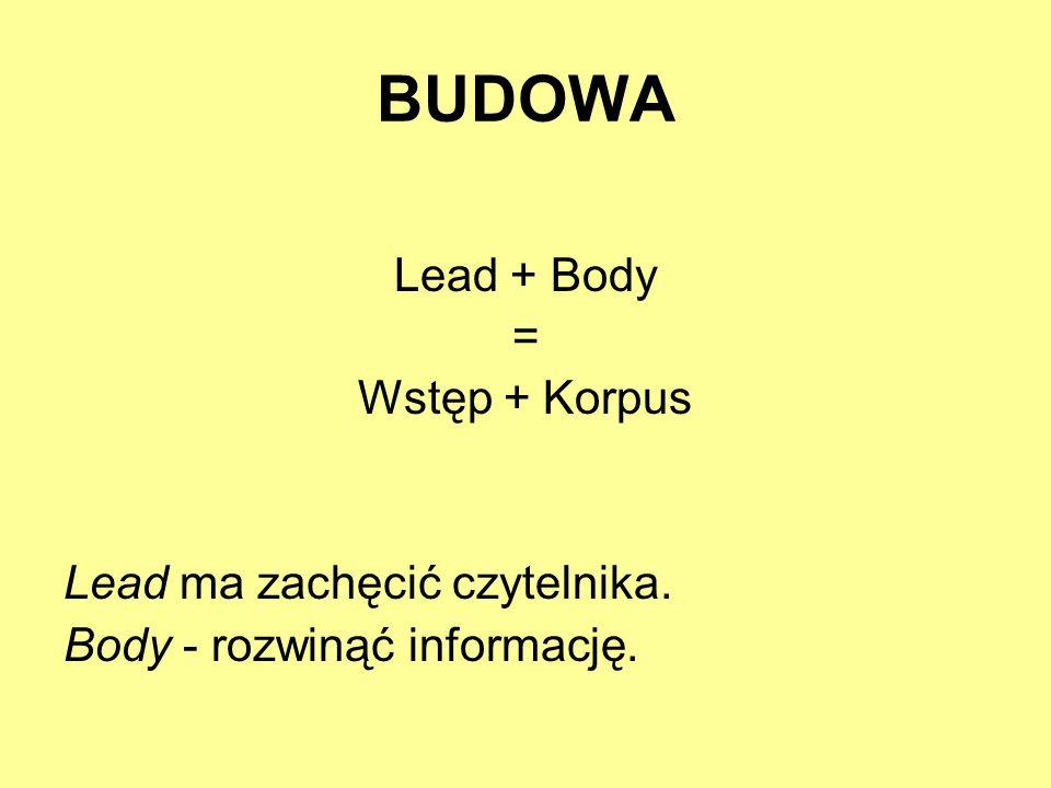 BUDOWA Lead + Body = Wstęp + Korpus Lead ma zachęcić czytelnika.
