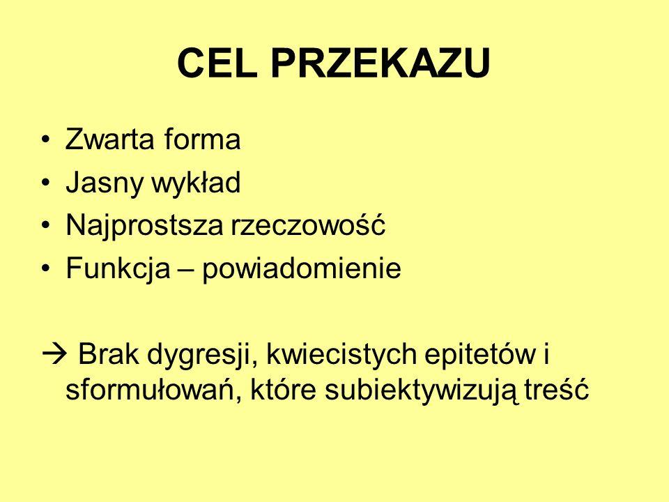 CEL PRZEKAZU Zwarta forma Jasny wykład Najprostsza rzeczowość