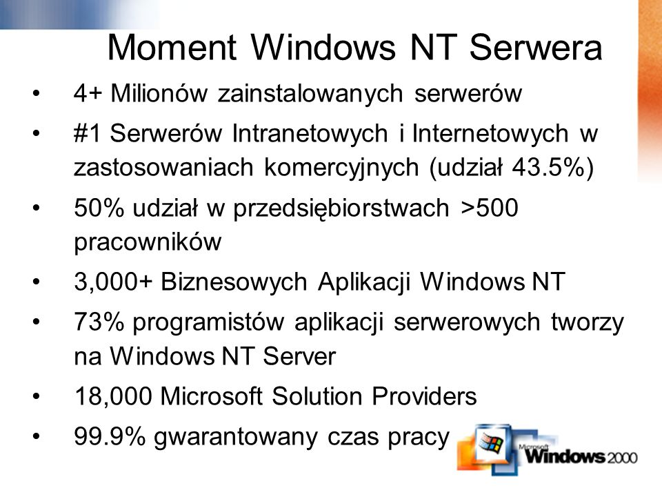 Moment Windows NT Serwera