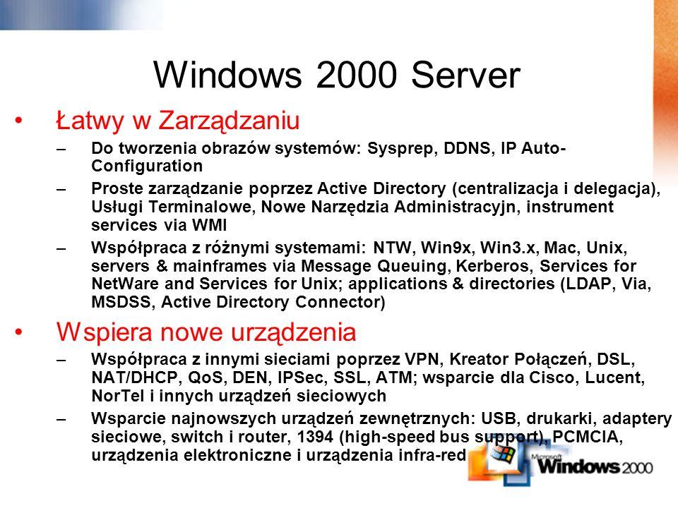 Windows 2000 Server Łatwy w Zarządzaniu Wspiera nowe urządzenia