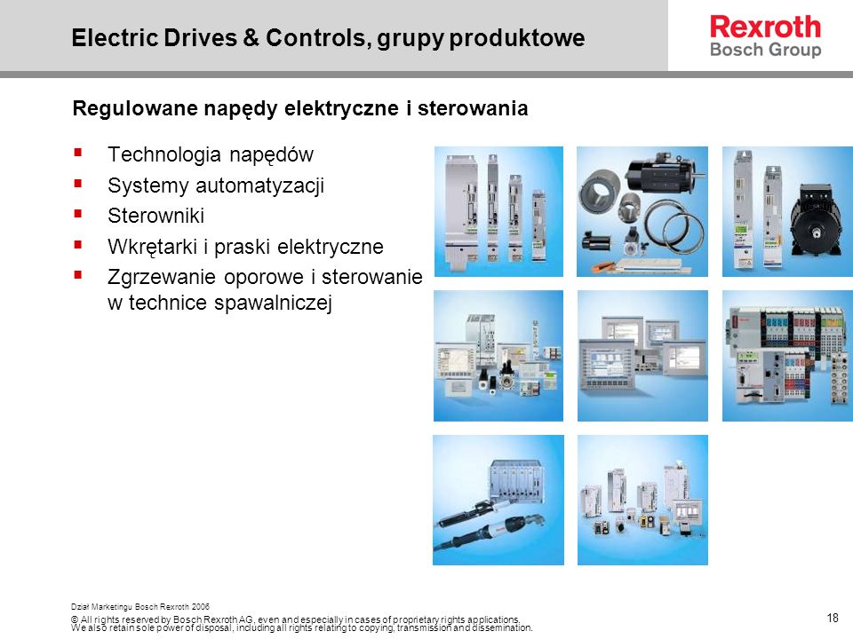 Electric Drives & Controls, grupy produktowe