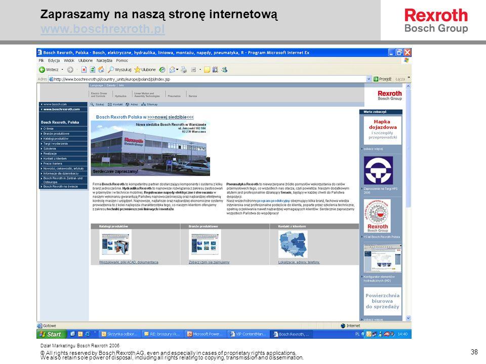 Zapraszamy na naszą stronę internetową www.boschrexroth.pl