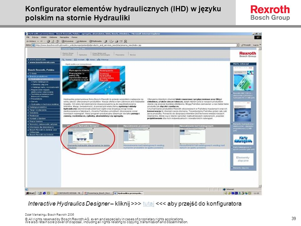 Konfigurator elementów hydraulicznych (IHD) w języku polskim na stornie Hydrauliki