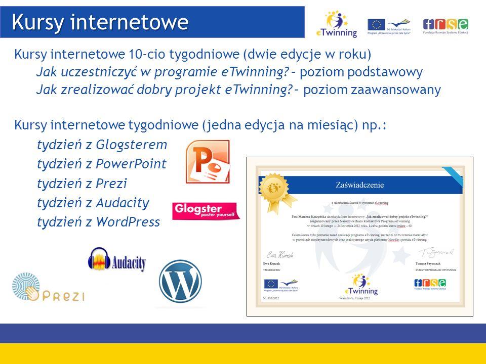 Kursy internetowe Kursy internetowe 10-cio tygodniowe (dwie edycje w roku) Jak uczestniczyć w programie eTwinning – poziom podstawowy.