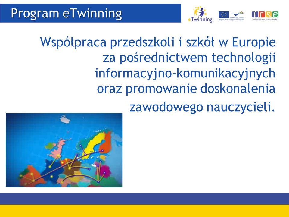 Program eTwinning Współpraca przedszkoli i szkół w Europie za pośrednictwem technologii informacyjno-komunikacyjnych oraz promowanie doskonalenia.