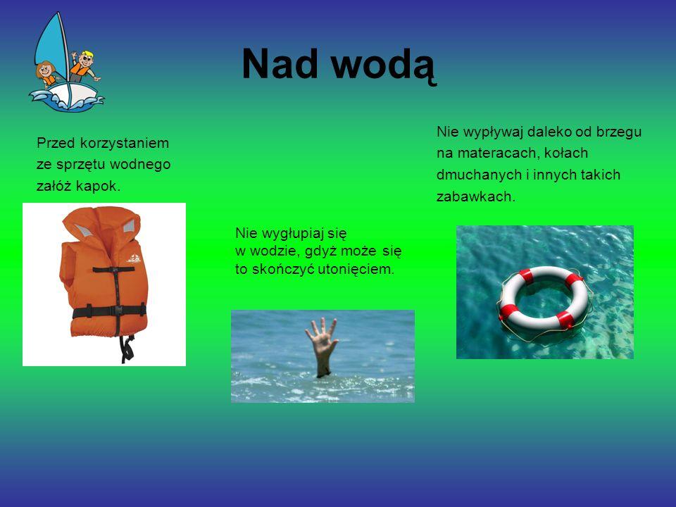 Nad wodą Nie wypływaj daleko od brzegu na materacach, kołach