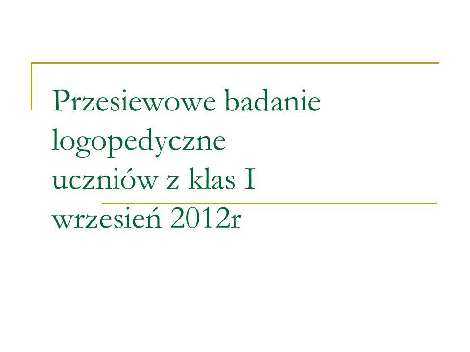 Przesiewowe badanie logopedyczne uczniów z klas I wrzesień 2012r