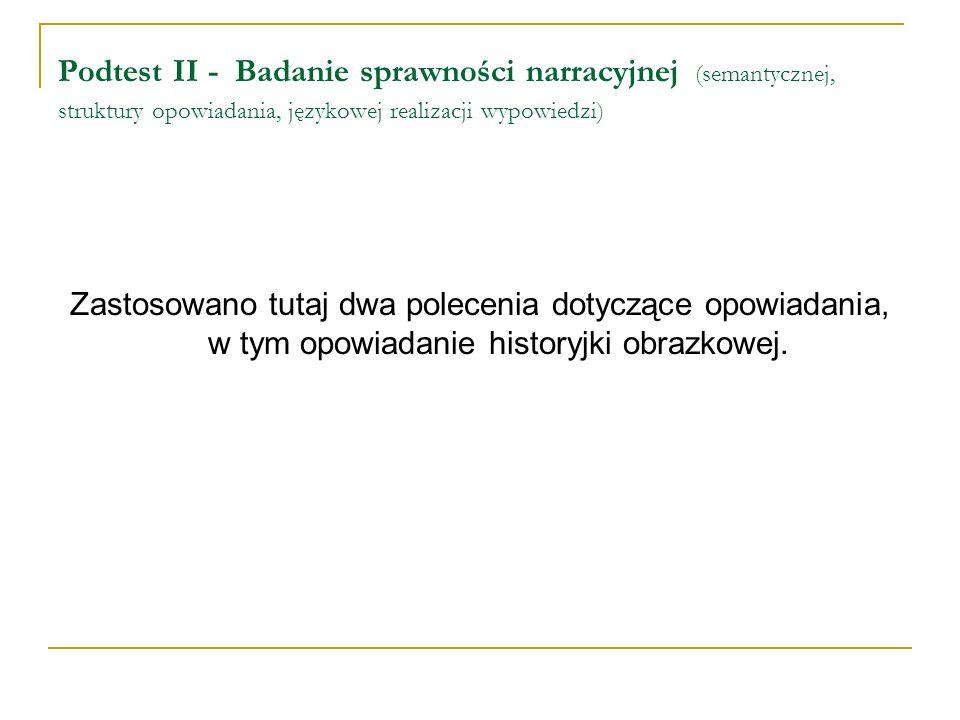 Podtest II - Badanie sprawności narracyjnej (semantycznej, struktury opowiadania, językowej realizacji wypowiedzi)