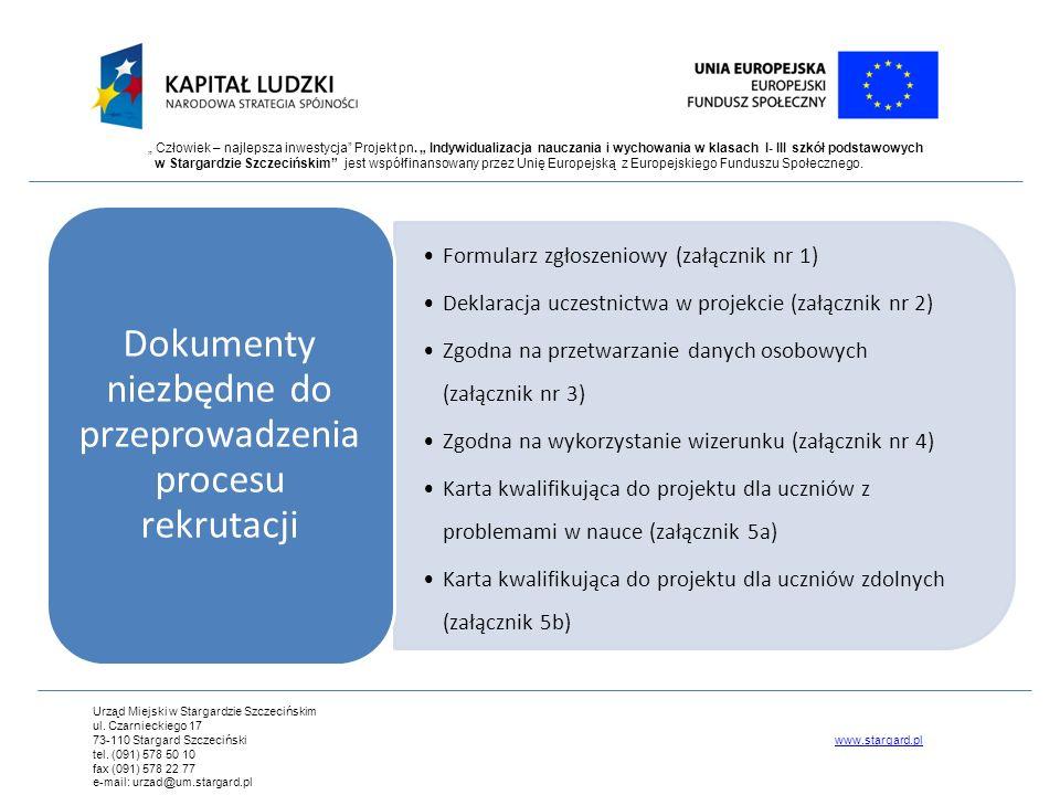 Dokumenty niezbędne do przeprowadzenia procesu rekrutacji