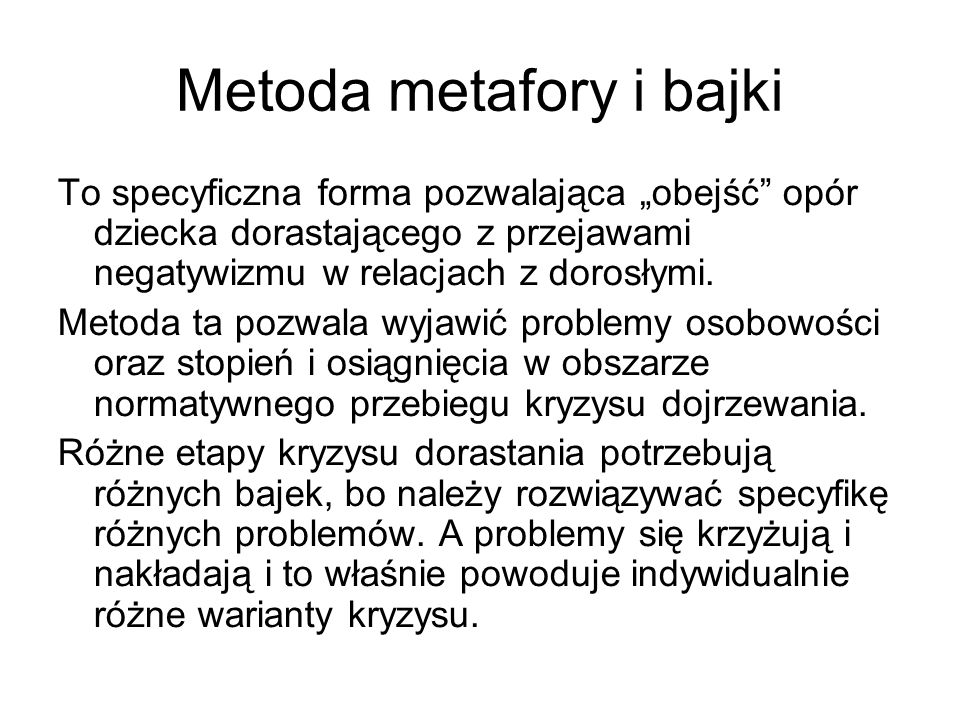 Metoda metafory i bajki