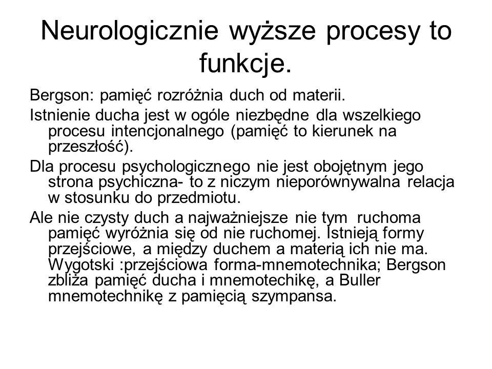 Neurologicznie wyższe procesy to funkcje.