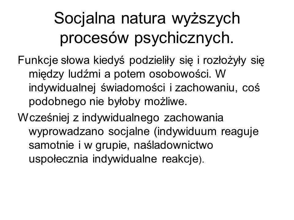 Socjalna natura wyższych procesów psychicznych.