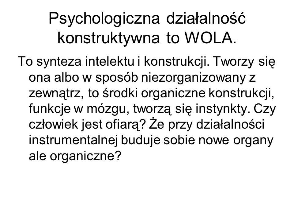 Psychologiczna działalność konstruktywna to WOLA.