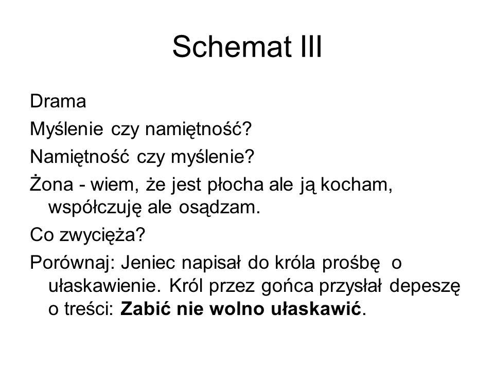 Schemat III Drama Myślenie czy namiętność Namiętność czy myślenie