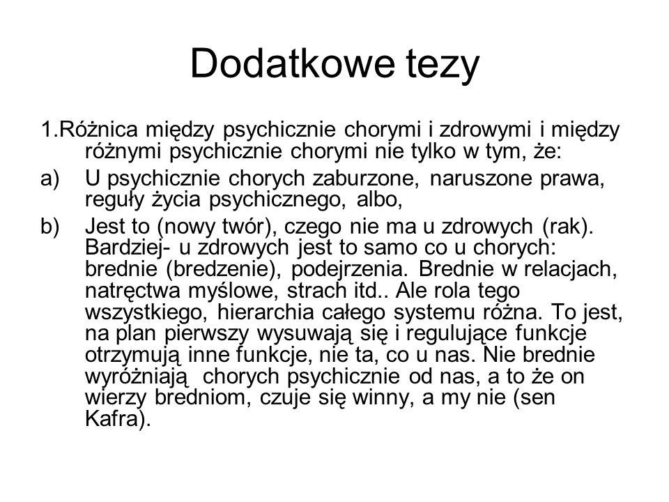 Dodatkowe tezy 1.Różnica między psychicznie chorymi i zdrowymi i między różnymi psychicznie chorymi nie tylko w tym, że: