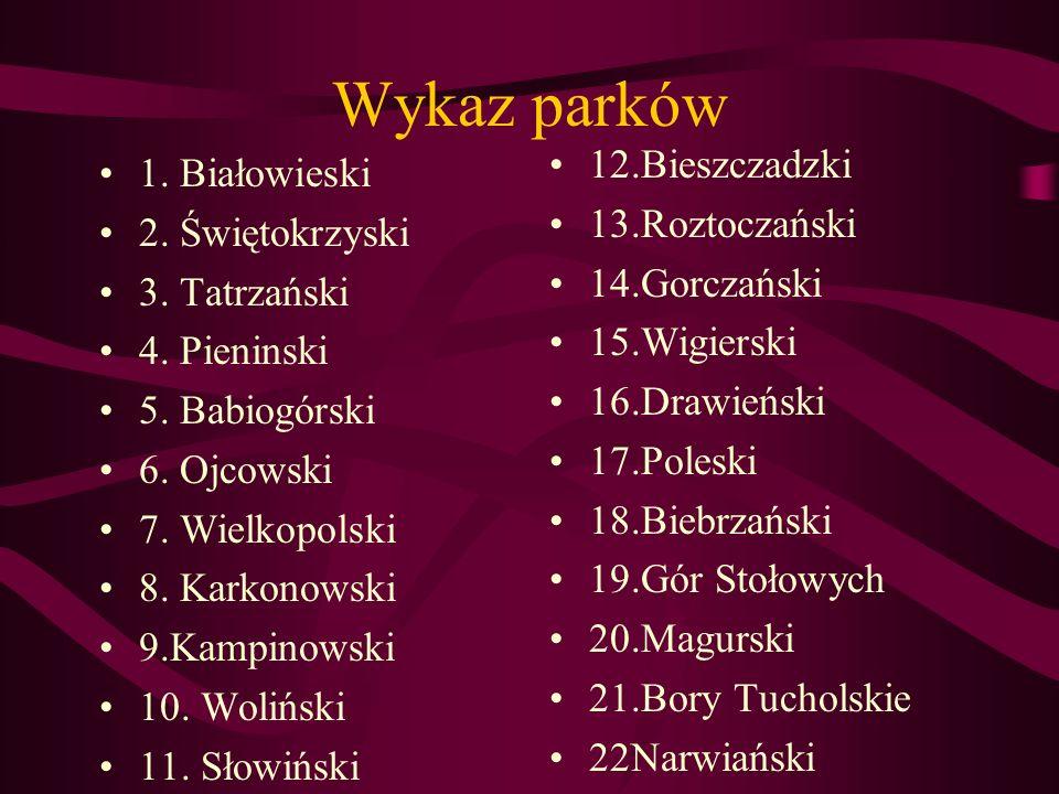 Wykaz parków 12.Bieszczadzki 1. Białowieski 13.Roztoczański