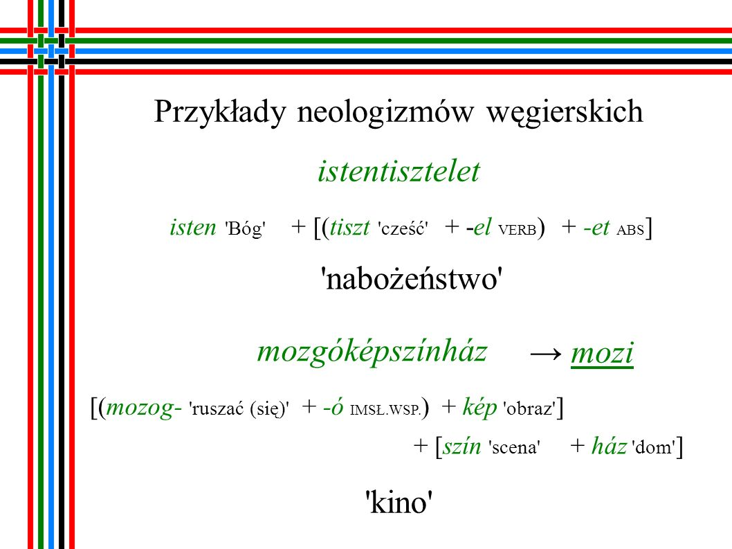 Przykłady neologizmów węgierskich