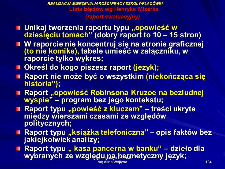 Lista błędów wg Henryka Mizerka (raport ewaluacyjny)