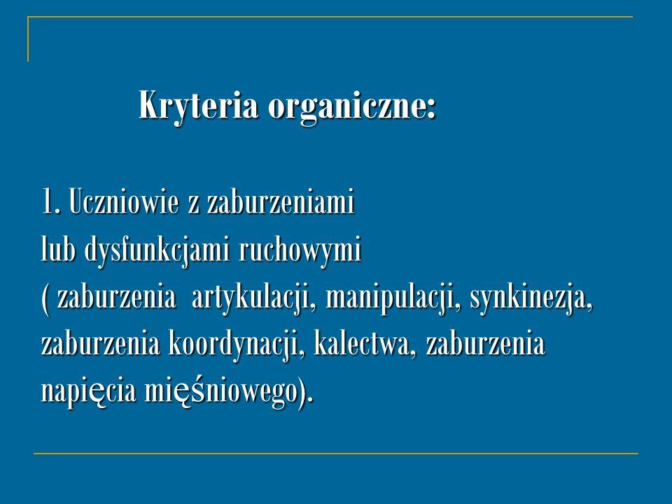 Kryteria organiczne: 1.