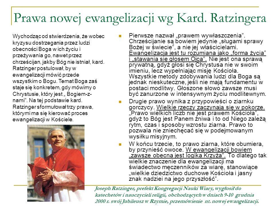 Prawa nowej ewangelizacji wg Kard. Ratzingera