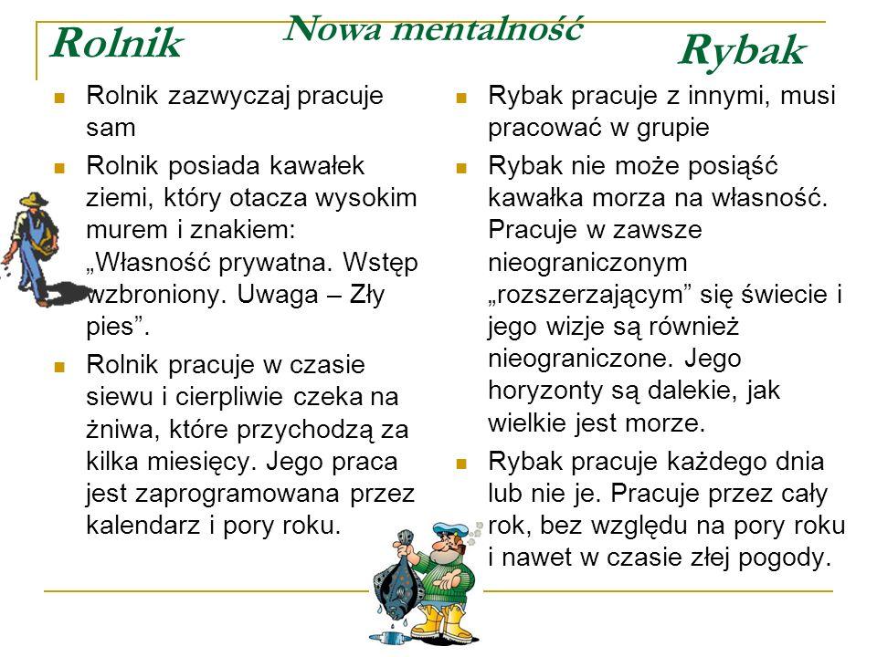 Rolnik Rybak Nowa mentalność Rolnik zazwyczaj pracuje sam