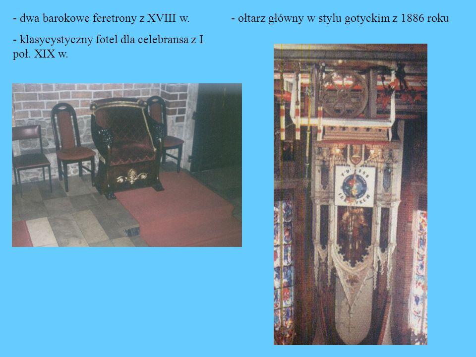 - dwa barokowe feretrony z XVIII w.