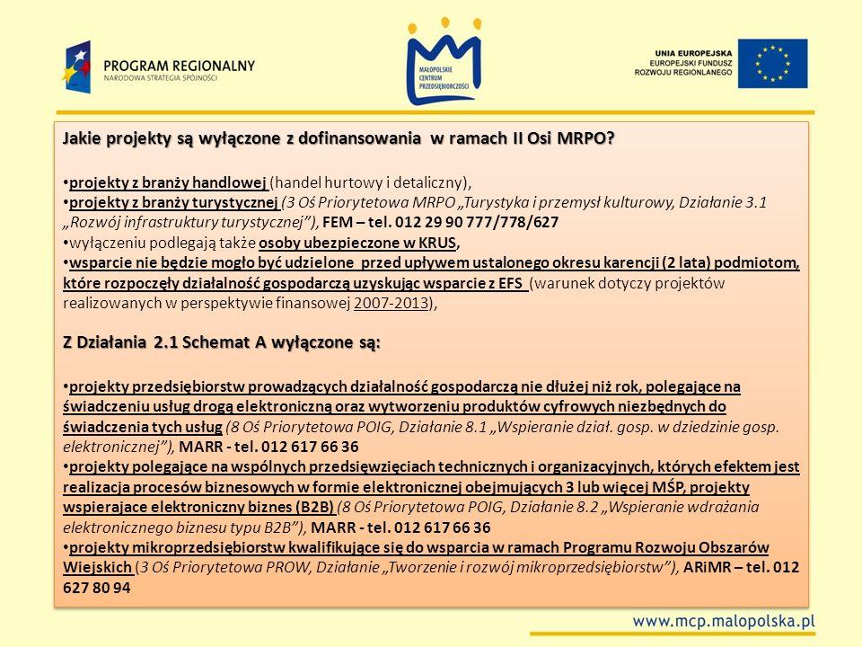 Jakie projekty są wyłączone z dofinansowania w ramach II Osi MRPO