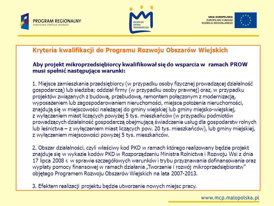 Kryteria kwalifikacji do Programu Rozwoju Obszarów Wiejskich