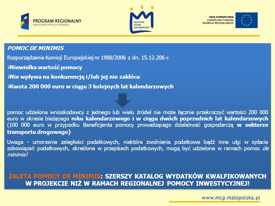 POMOC DE MINIMISRozporządzenie Komisji Europejskiej nr 1988/2006 z dn. 15.12.206 r. Niewielka wartość pomocy.