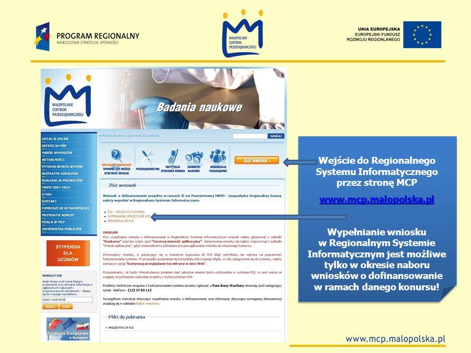 Wejście do Regionalnego Systemu Informatycznego przez stronę MCP