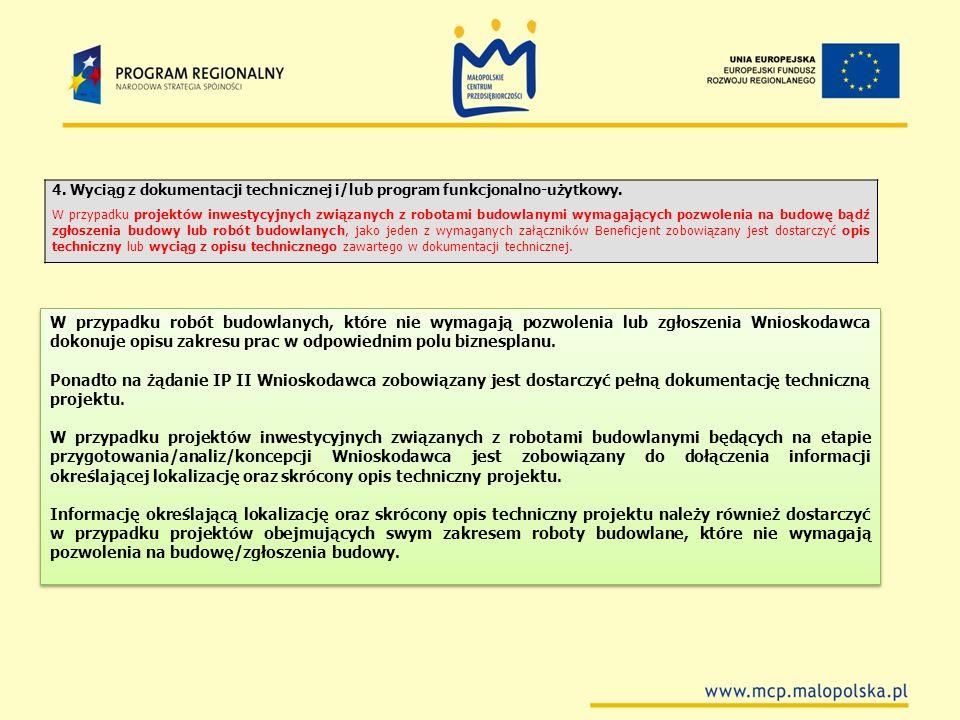4. Wyciąg z dokumentacji technicznej i/lub program funkcjonalno-użytkowy.