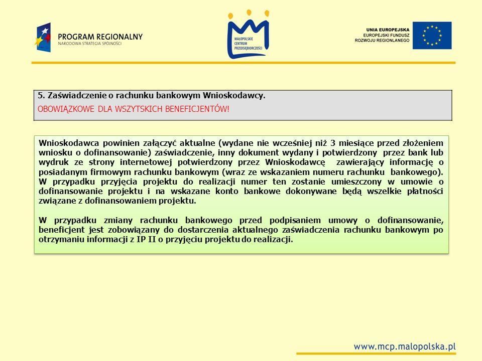 5. Zaświadczenie o rachunku bankowym Wnioskodawcy.
