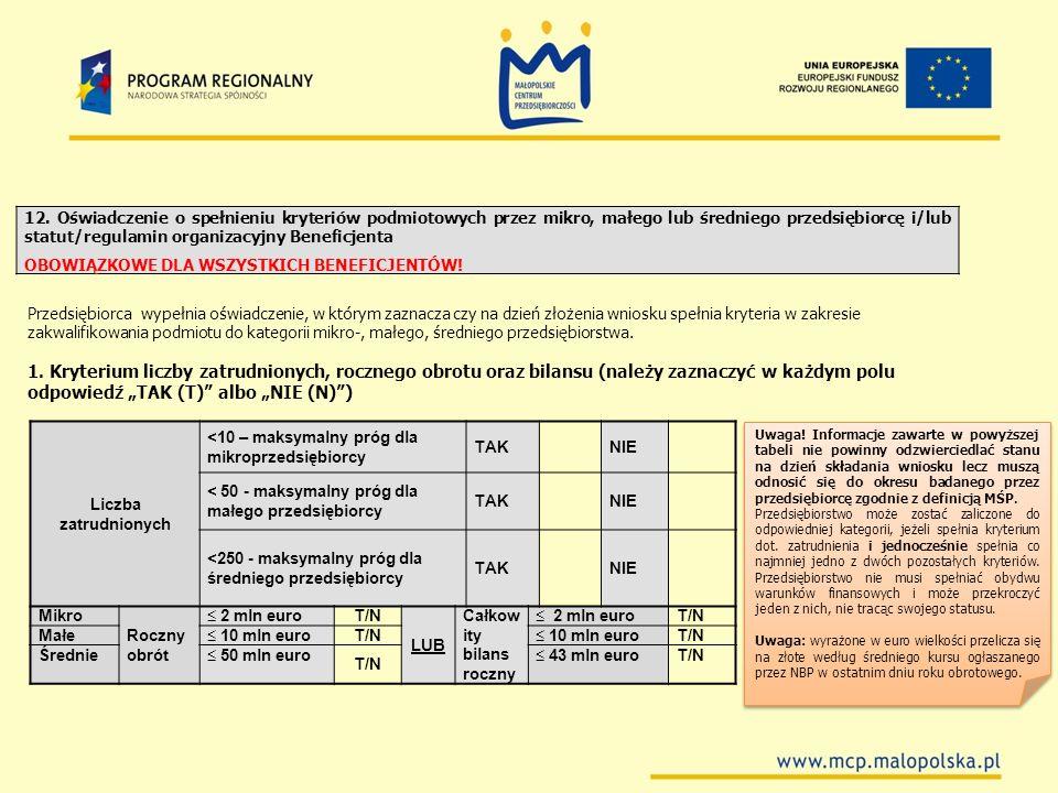12. Oświadczenie o spełnieniu kryteriów podmiotowych przez mikro, małego lub średniego przedsiębiorcę i/lub statut/regulamin organizacyjny Beneficjenta