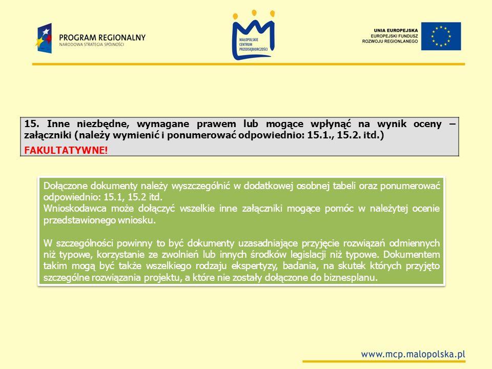 15. Inne niezbędne, wymagane prawem lub mogące wpłynąć na wynik oceny – załączniki (należy wymienić i ponumerować odpowiednio: 15.1., 15.2. itd.)