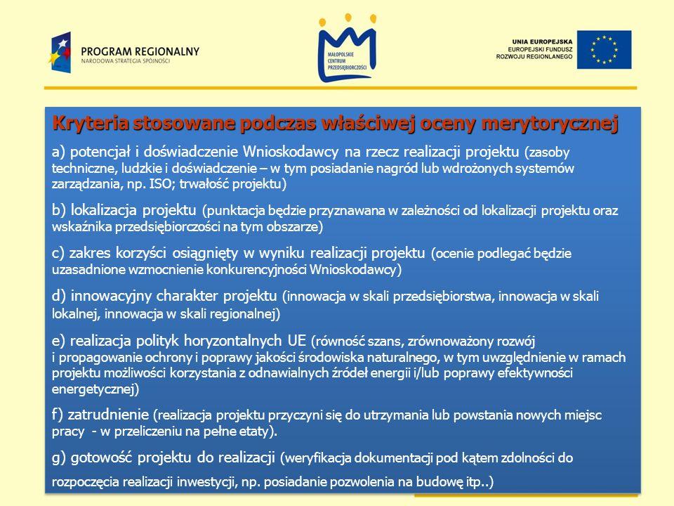 Kryteria stosowane podczas właściwej oceny merytorycznej