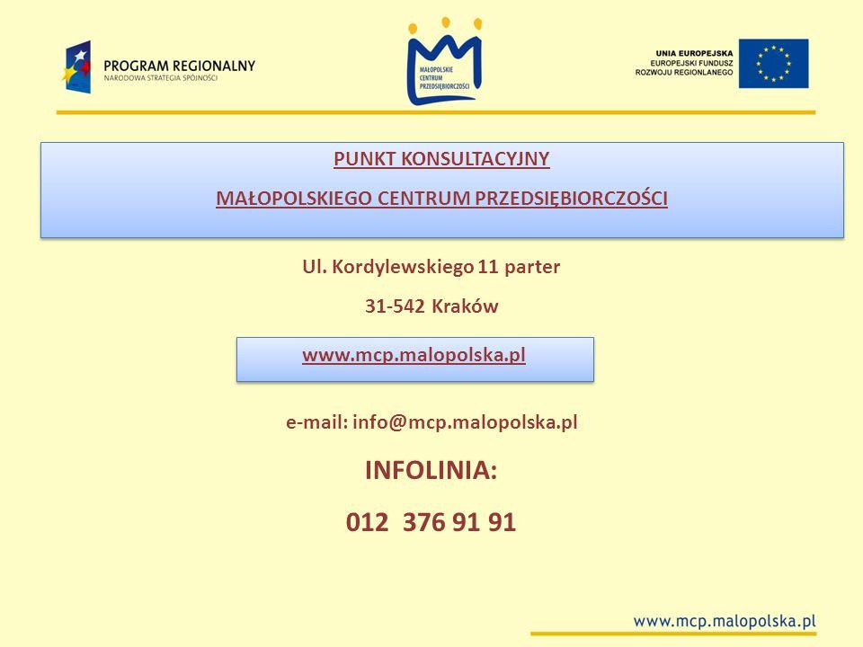 INFOLINIA: 012 376 91 91 PUNKT KONSULTACYJNY