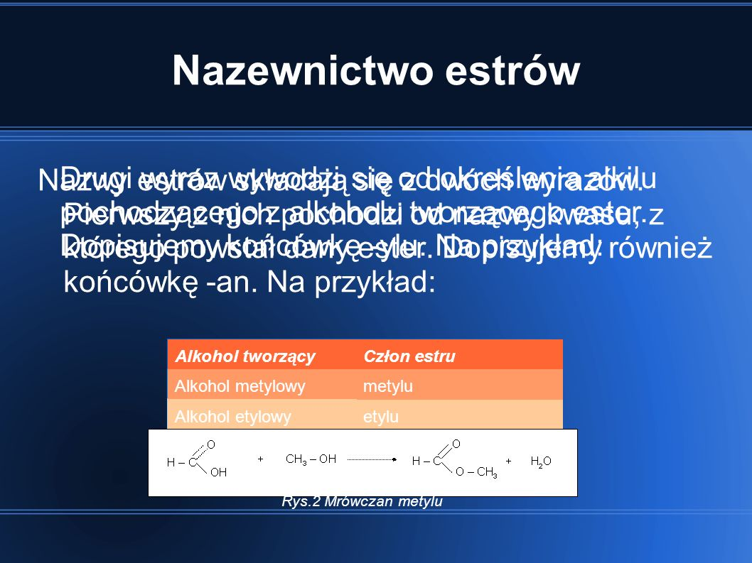 Nazewnictwo estrów Drugi wyraz wywodzi się od określenia alkilu pochodzącego z alkoholu tworzącego ester. Dopisujemy końcówkę -ylu. Na przykład: