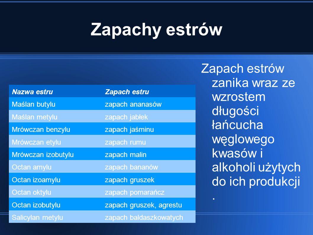 Zapachy estrów Zapach estrów zanika wraz ze wzrostem długości łańcucha węglowego kwasów i alkoholi użytych do ich produkcji .